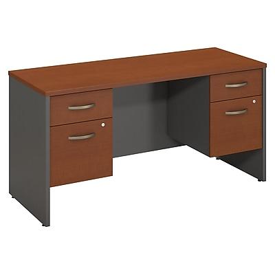 Bush Business Furniture Westfield 60W x 24D Desk Credenza with 2 Pedestals, Auburn Maple (SRC066AUSU)