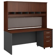 "Bush Business Furniture Westfield 72""W x 30""D Office Desk with Hutch and Mobile File Cabinet, Hansen Cherry (SRC080HCSU)"