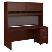"Bush Business Furniture Westfield 72""W x 30""D Office Desk with Hutch and Mobile File Cabinet, Mahogany (SRC080MASU)"