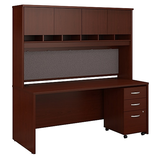 Bush Business Furniture Westfield 72w X 30d Office Desk With Hutch And Mobile File Cabinet Mahogany Src080masu Staples
