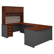 "Bush Business Furniture Westfield 60""W Left Handed Bow Front U Shaped Desk with Hutch and Storage, Hansen Cherry (SRC093HCSU)"