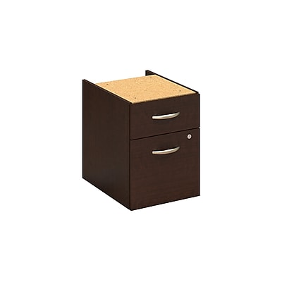 Bush Business Furniture 2 Drawer 3/4 Pedestal, Mocha Cherry, Installed (XXXWC12990SUFA)