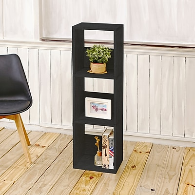 Way Basics Eco-Friendly 3 Shelf Trio Narrow Bookcase Storage Shelf, Black Wood Grain