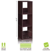 Way Basics Eco-Friendly 3 Shelf Trio Narrow Bookcase Storage Shelf, Espresso Wood Grain