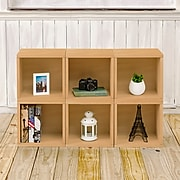 "Way Basics 25.6""H x 40.2""W 6 Stackable Modular Modern Eco Storage Cube System Cubby Organizer, Natural Wood Grain (PS-MC-6-CR)"