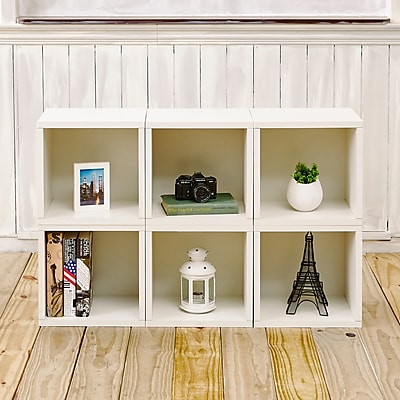 Way Basics Eco-Friendly 6 Stackable Modular Storage Cubes, White