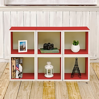 Way Basics Eco-Friendly 6 Stackable Modular Storage Cubes, Red