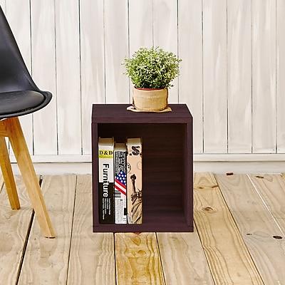 Way Basics Eco-Friendly Stackable Storage Cube Plus Organizer, Espresso Wood Grain
