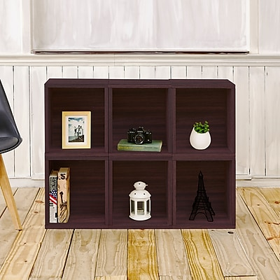 Way Basics Eco-Friendly 6 Stackable Modular Storage Cubes Plus, Espresso Wood Grain