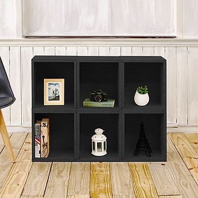 Way Basics Eco-Friendly 6 Stackable Modular Storage Cubes Plus, Black Wood Grain