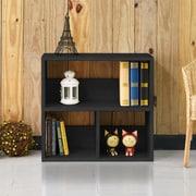 "Way Basics 24.8""H Collins Cubby Bookcase, Organizer and Modern Eco Storage Shelf, Black Wood Grain (WB-2SHELF-3-BK)"