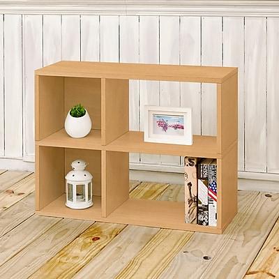 Way Basics Eco-Friendly 2 Shelf Chelsea Bookcase (under desk storage), Natural Wood Grain