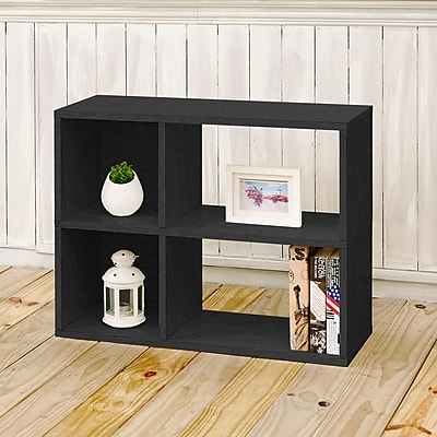 Way Basics Eco-Friendly 2 Shelf Chelsea Bookcase (under desk storage), Black Wood Grain