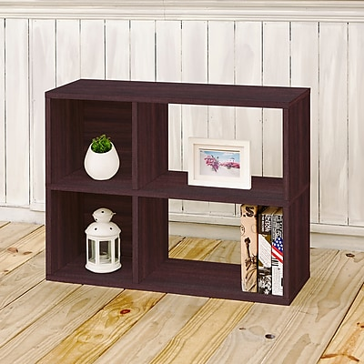 Way Basics Eco-Friendly 2 Shelf Chelsea Bookcase (under desk storage), Espresso Wood Grain