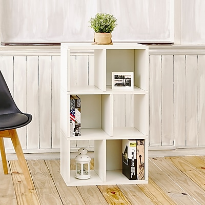 "Way Basics 36.8""H 3-Shelf Laguna Bookcase Modern Eco Storage Shelf, White (WB-3SC-WE)"