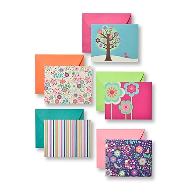 Gartner Studios Floral Brights Flat Panel Notecards with Envelopes, 100/Pack