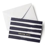 Gartner Studios – Cartes de remerciements à rayures bleu marine avec détails métallisés dorés, avec enveloppes, paq./10