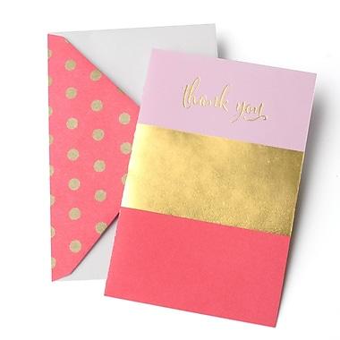 Gartner Studios Pink & Gold Foil Stripe Thank You Cards with Envelopes, 10/Pack