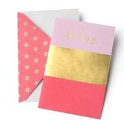 Gartner Studios – Cartes de remerciements à motif de rayures métallisées roses et or, avec enveloppes, paq./10