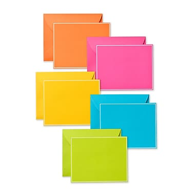 Gartner Studios Solid Brights Flat Panel Notecards with Envelopes Value Pack, 100/Pack
