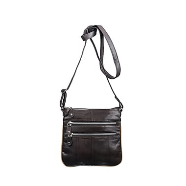Champs Leather Double Zip Crossbody Bag
