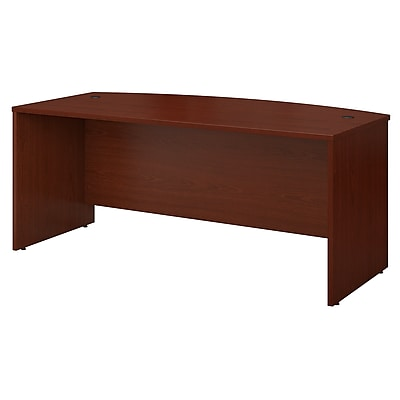 Bush Business Furniture Westfield 72W x 36D Bow Front Desk, Mahogany, Installed (WC36746FA)