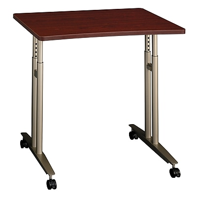 Bush Business Furniture Westfield Adjustable Height Mobile Table, Mahogany (WC36782)