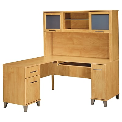 Bush Furniture Somerset 60W L Shaped Desk with Hutch, Maple Cross (SET002MC)