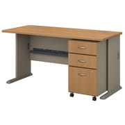 Bush Business Furniture Cubix 60W Desk with Mobile File Cabinet, Light Oak (SRA003LOSU)