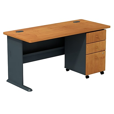 Bush Business Furniture Cubix 60W Desk with Mobile File Cabinet, Natural Cherry (SMA002NCSU)
