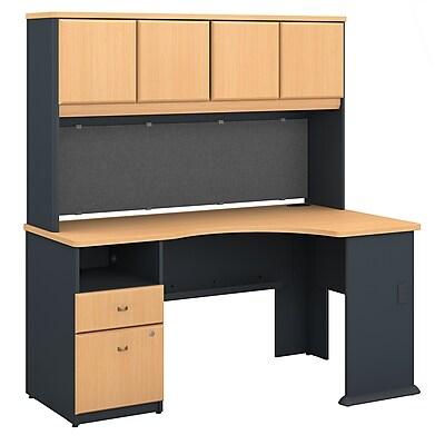 Bush Business Furniture Cubix 60W Corner Desk with Hutch and 2 Drawer Pedestal, Beech (SRA007BE)