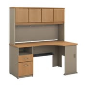 Bush Business Furniture Cubix 60W Corner Desk w/ Hutch and 2 Drawer Pedestal, Light Oak (SRA007LO)
