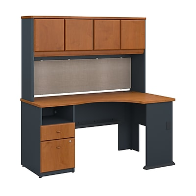 Bush Business Furniture Cubix 60W Corner Desk with Hutch and 2 Drawer Pedestal, Natural Cherry (SRA007NC)