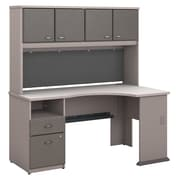 Bush Business Furniture Cubix 60W Corner Desk w/ Hutch and 2 Drawer Pedestal, Pewter (SRA007PE)