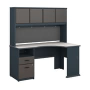 Bush Business Furniture Cubix 60W Corner Desk w/ Hutch and 2 Drawer Pedestal, Slate (SRA007SL)