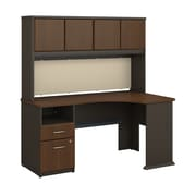 Bush Business Furniture Cubix 60W Corner Desk with Hutch and 2 Drawer Pedestal, Sienna Walnut (SRA007WA)
