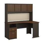 Bush Business Furniture Cubix 60W Corner Desk w/ Hutch and 2 Drawer Pedestal, Sienna Walnut (SRA007WA)