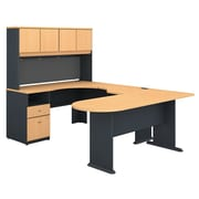 Bush Business Furniture Cubix U Shaped Desk with Hutch, Peninsula and Storage, Beech (SRA009BE)