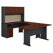 Bush Business Furniture Cubix U Shaped Desk w/ Hutch, Peninsula and Storage, Hansen Cherry (SRA009HC)