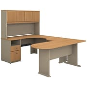 Bush Business Furniture Cubix U Shaped Desk with Hutch, Peninsula and Storage, Light Oak (SRA009LO)