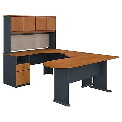 Bush Business Furniture Cubix U Shaped Desk with Hutch, Peninsula and Storage, Natural Cherry (SRA009NC)
