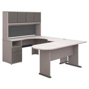 Bush Business Furniture Cubix U Shaped Desk w/ Hutch, Peninsula and Storage, Pewter (SRA009PE)