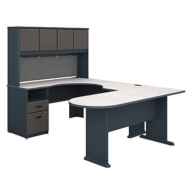 Bush Business Furniture Cubix U Shaped Desk with Hutch, Peninsula and Storage, Slate (SRA009SL)