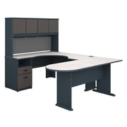 Bush Business Furniture Cubix U Shaped Desk with Hutch, Peninsula and Storage, Slate (SRA009SL)