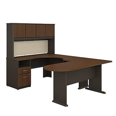 Bush Business Furniture Cubix U Shaped Desk with Hutch, Peninsula and Storage, Sienna Walnut (SRA009WA)