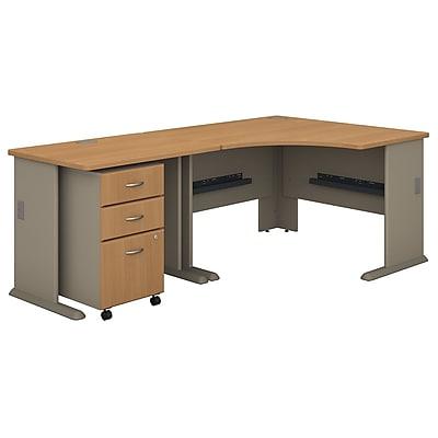 Bush Business Furniture Cubix 48W Corner Desk with 36W Return and Mobile File Cabinet, Light Oak (SRA005LOSU)