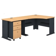 Bush Business Furniture Cubix 48W Corner Desk with 36W Return and Mobile File Cabinet, Beech (SRA005BESU)