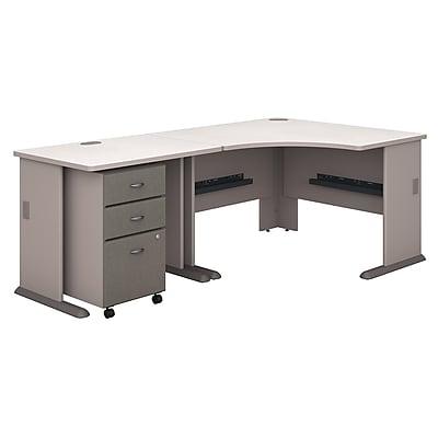 Bush Business Furniture Cubix 48W Corner Desk with 36W Return and Mobile File Cabinet, Pewter (SRA005PESU)