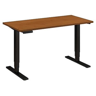 Move 80 Series by Bush Business Furniture 48W x 24D Height Adjustable Standing Desk, Natural Cherry, Installed (HAT4824NCBKFA)