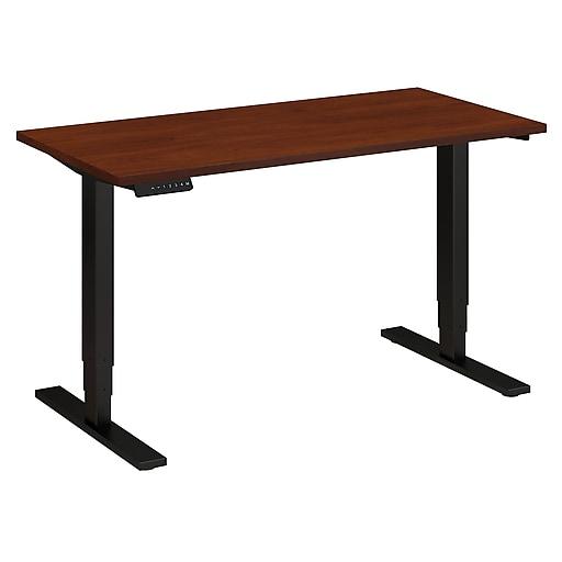 Move 80 Series by Bush Business Furniture 48W x 24D Height Adjustable Standing Desk, Hansen Cherry, Installed (HAT4824HCBKFA)